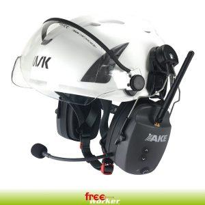 Weißer Helm mit Visier Gehöhrschutz mit Antenne und Mikrofon