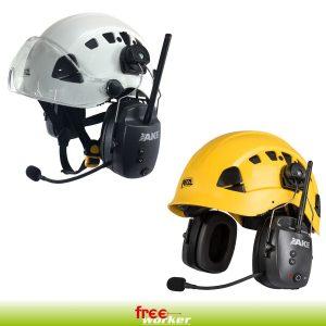 Zwei Helme mit Visier Gehöhrschutz mit Antenne und Mikrofon