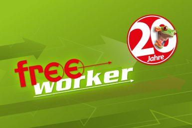 Grünes Banner mit 20 Jahre Freeworker Logo