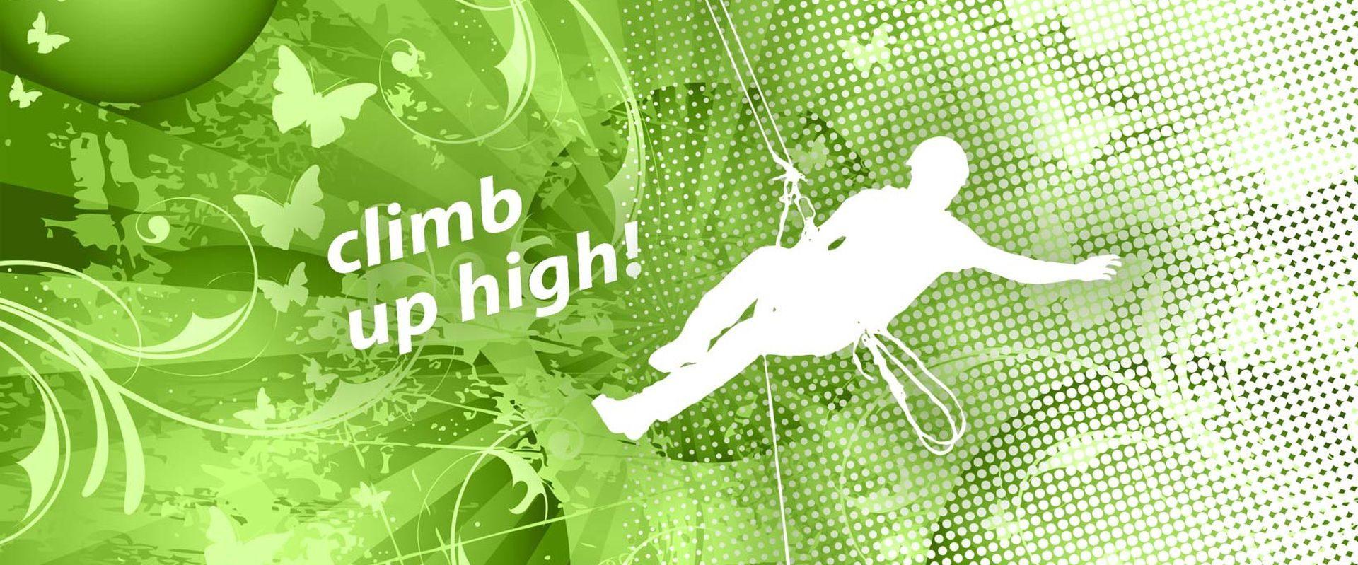 "Symbolisierter Kletterer und Schriftzug ""climb up high"""