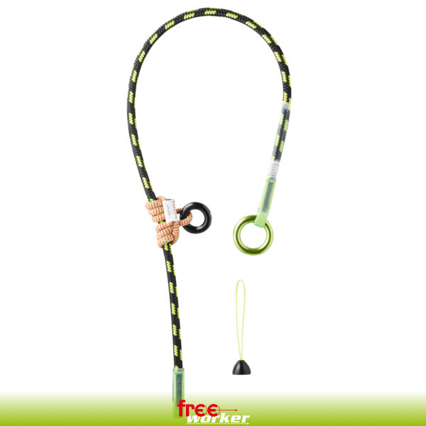 Black and yellow rope with rings and loops