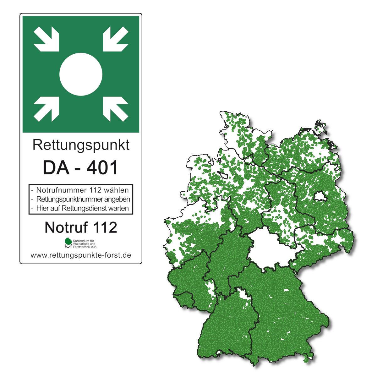 Deutschlandkarte mit grünen Punkten